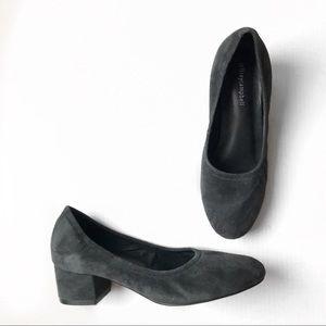 Jeffery Campbell suede gray bitsie block heel